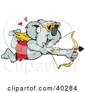 Clipart Illustration Of A Koala Cupid Shooting Arrows At Unsuspecting Critters by Dennis Holmes Designs