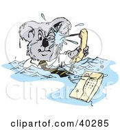 Clipart Illustration Of A Business Koala Being Squirt By A Phone During A Flood by Dennis Holmes Designs