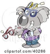 Clipart Illustration Of A Koala Optometrist Displaying Glasses