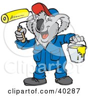 Clipart Illustration Of A Koala Painter With A Roller And Bucket by Dennis Holmes Designs