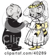 Clipart Illustration Of A Koala Bride And Groom Admiring Each Other