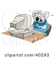 Clipart Illustration Of A Koala Chatting Online And Sitting At A Computer Desk by Dennis Holmes Designs