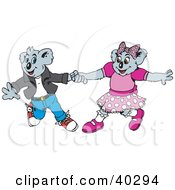 Clipart Illustration Of Two Courting Koalas Dancing
