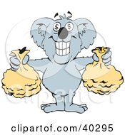 Clipart Illustration Of A Wealthy Koala With Dollar Sign Eyes Holding Two Money Bags
