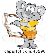 Clipart Illustration Of A Koala Student Pointing To An Open Book by Dennis Holmes Designs