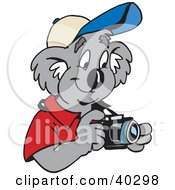 Clipart Illustration Of A Koala Tourist Taking Pictures