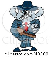 Clipart Illustration Of A Mafia Koala Pointing And Carrying A Tommy Gun In A Violin Case