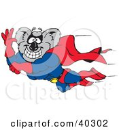 Clipart Illustration Of A Muscular Super Hero Koala Flying To Save The Day by Dennis Holmes Designs