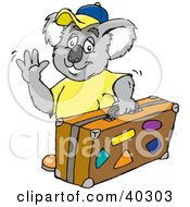 Clipart Illustration Of A Traveling Koala Waving And Carrying Luggage