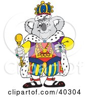 Clipart Illustration Of A Koala King In Luxurious Robes And A Crown Holding A Staff