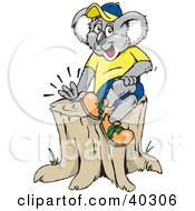 Clipart Illustration Of A Koala Sitting On Top Of A Tree Stump