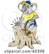 Koala Sitting On Top Of A Tree Stump