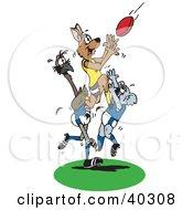 Kangaroo Jumping On A Koala And Emu To Catch A Rugby Football