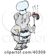 Koala Chef Holding Bbq Steak And Wearing A Lingerie Apron