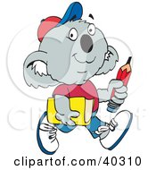 Clipart Illustration Of A Koala School Boy Carrying A Pencil And Book