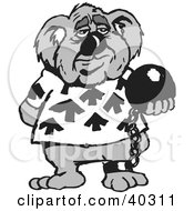 Clipart Illustration Of A Criminal Koala Attached To A Ball And Chain