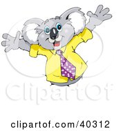 Clipart Illustration Of A Koala Business Man Breaking Through A Wall