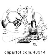 Clipart Illustration Of A Black And White Outline Of A Koala Smashing A Computer