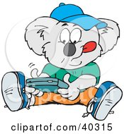 Clipart Illustration Of A Koala Student Playing A Hand Held Video Game
