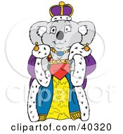 Clipart Illustration Of A Koala Queen In Luxurious Robes And A Crown