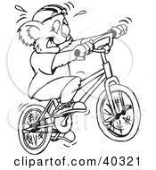 Clipart Illustration Of A Black And White Coloring Book Page Of A Koala Riding A Bike