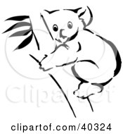 Clipart Illustration Of A Black And White Coloring Book Page Of A Koala In A Tree