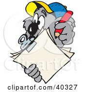 Clipart Illustration Of A Koala Inspector Taking Notes