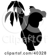 Clipart Illustration Of A Black Silhouette Of A Koala In A Tree