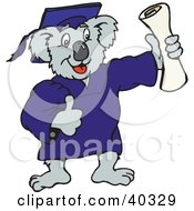 Clipart Illustration Of A Koala Graduate Holding Up A Diploma Certificate