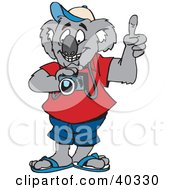 Clipart Illustration Of A Tourist Koala Taking Pictures