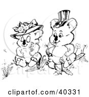 Black And White Coloring Book Page Of Courting Koalas Making Wishes With Dandelion