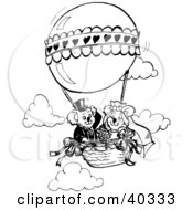 Clipart Illustration Of A Black And White Outline Of A Koala Bride And Groom In A Hot Air Balloon