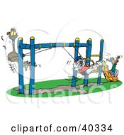 Koala Swinging With An Emu And A Kangaroo Going Down A Slide On A Playground At School Recess