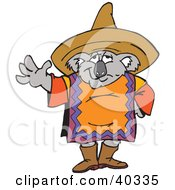 Clipart Illustration Of A Mexican Koala In A Poncho And Sombrero