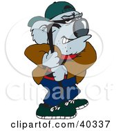 Clipart Illustration Of A Koala Crook Breaking In With A Crowbar