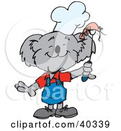 Clipart Illustration Of A Koala Chef Holding Bbq Shrimp by Dennis Holmes Designs