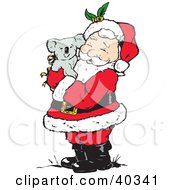 Clipart Illustration Of Santa Clause Holding And Cuddling With A Cute Koala