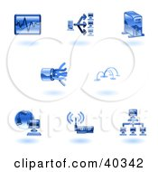 Clipart Illustration Of Shiny Blue Computer Tech Icons