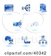 Shiny Blue Computer Tech Icons