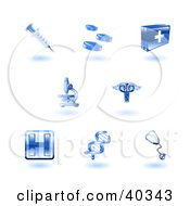 Clipart Illustration Of Shiny Blue Health Care Icons by AtStockIllustration