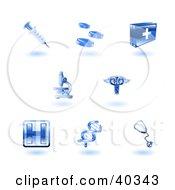 Shiny Blue Health Care Icons