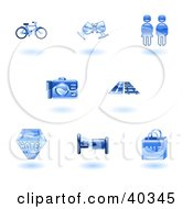 Clipart Illustration Of Shiny Blue Tourist Icons by AtStockIllustration