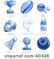 Clipart Illustration Of Shiny Blue Sports And Recreation Icons