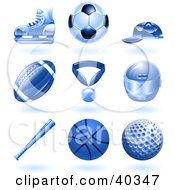 Clipart Illustration Of Shiny Blue Ball And Sport Icons by AtStockIllustration