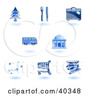 Clipart Illustration Of Shiny Blue Travel Services Icons
