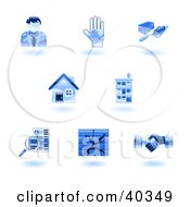 Clipart Illustration Of Shiny Blue Real Estate Icons