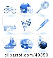 Clipart Illustration Of Shiny Blue Athletics Icons by AtStockIllustration