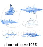 Clipart Illustration Of Shiny Blue Fast Icons
