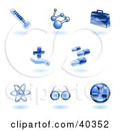 Clipart Illustration Of Shiny Blue Medical Icons by AtStockIllustration