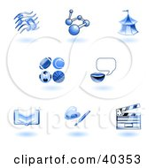 Clipart Illustration Of Shiny Blue School Subject Icons